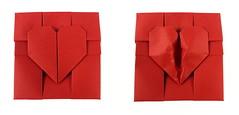 Broken Heart Box (top view) (Michał Kosmulski) Tags: origami box tessellation heart broken love valentinesday michałkosmulski tantpaper red