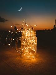 Sunset dreams (WeekendPlayer) Tags: sunset sun lights led jar bluehour blue sky night moon