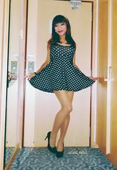 Polka dot girl (Anina N.) Tags: asian cd crossdressing crossdress crossdresser tg tgurl tgirl transgirl transgender trap transvestite tv polkadot highheels longlegs sexy secretary tranny skaterdress