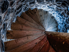 blue down (Luana 0201) Tags: stairs stone wood spiral tower blue
