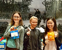 Girls Night Out and Loving Their Treats (The Pop Bag) Tags: newyorktimes film club justins banana chip snack pack peanutbutter dip emmysorganics glutenfree vegan organic nongmo coconut cookies healthy delicious yummy tasty nutritious bandarfoods naanchips chips garlic tikkamasala himalayan pink salt fun exciting amazing warfortheplanet warfortheplanetoftheapes movie event nyc popbag thepopbag