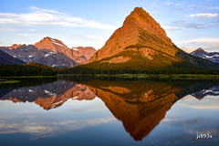 Sunrise at Swiftcurrent Lake (jt893x) Tags: 28300mm d810 glacier glaciernationalpark gnp grinellpoint jt893x lake landscape lewisrange mountains nikon reflection rockymountains sunrise swiftcurrentlake