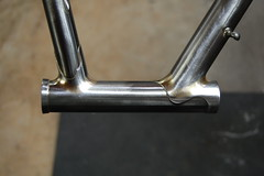 Dissimilar shapes. Headtube filed, finished, and ready for paint. (mapcycles) Tags: mapbicycles bilaminate pacenti mafac columbus filletbrazed