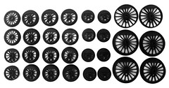New drivers and wheels for future Lego projects (Jayhurst) Tags: lego train steam engine locomotive wheels wheel drivers driver sizes shupp 3d printing model railroad l gauge plastic