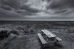 Not Quite Storm Chasing (Rob Pitt) Tags: the harp neston wirral pint beer vista view blackwhite monography bench picnic marshes clouds storm