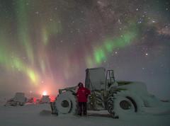 Dozer Selfie (redfurwolf) Tags: southpole antarctica auroraaustralis aurora dozer bulldozer milkyway stars moon moonlight snow ice outdoor selfie nature vehicle heavyvehicle sky night nightsky nightphotography redfurwolf sonyalpha sony a99ii sal1635f28za galacticcenter cat