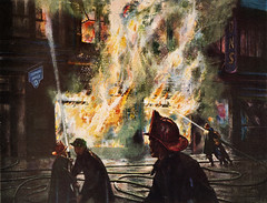 1950s Western Electric illustration of firefighters fighting the Bell Telephone office fire in Rugby, North Dakota - artist unknown (thstrand) Tags: darkness dark 50s company corporation corporate advertise advert advertisements advertising advertisement publicsafety firstresponders march251954 rugby north dakota nd 1950s western electric fire fires firefighter firefighters fireman firemen pierce county telephone office disaster disasters art artwork visual arts drawing rendering small town city night nighttime publication article magazine history historic historical blaze blazing blazes building danger dangerous recovery nodak bell june201955 life vol38no25 1954 1955 jacobsonsdepartmentstore jacobson
