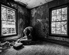 These heartbeats travel the night a mile (sadandbeautiful (Sarah)) Tags: me woman female self selfportrait abandoned bw monochrome abandonedhouse decay carlsandburg