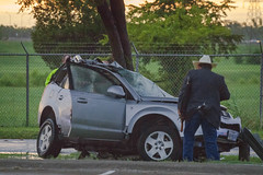 Overnight collision discovered in the morning left two dead on Sargent Road, in South Dallas. (Shane Murphy - Emergency Incident Photographer) Tags: mva motor vehicle accident collision bizarre crazy insane how wtf crash vehicular fatal fatality pinned extrication entrapment police dpd dallas fire dfr dfw rescue sargent rd road injured investigation crime emergency incident photography fireground department real career life candid news breaking photojournalism documenting work first responders response traffic safety driving drive roadway vs tree car suv