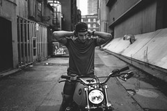 easy. (jonathancastellino) Tags: toronto downtown alley lane leica q friend ryan figure portrait classic bmw motorcycle man machine light tattoo arm architecture easyrider