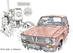 Renault et Vendeuvre BM500 (gerard michel) Tags: france renault tracteur vendeuvre ancêtre sketch croquis