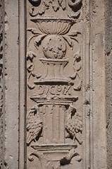 "Barcelona (Ample street).  Grotteschi. Detail of the former portal of Sant Miquel church, reconstructed in 1872 next to La Mercè. 1516. René Ducloux, sculptor. Gabriel Pellicer and Pau Mateu, builders. (Catalan Art & Architecture Gallery (Josep Bracons)) Tags: ""josep bracons"" catalunya catalonia cataluña catalogne katalonien art catala catalan arte kunst gallery barcelona barcelone ample merce ""jeroni descoll"" ducloux angel ange arcangel archange archangel miquel miguel michel michael esglesia iglesia eglise church chiesa igreja kirche façana fachada facade catholic arquitectura architecture porta portada puerta portal portico porte portail door escultura grutesco grotesc grottesco reconstruccio reconstruccion relleu relieve relief pilastra pilastre pilaster"