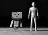 """Day the Earth (and Danbo) Stood Still"" (thinduck42) Tags: sciencefiction film movie 1950s daytheearthstoodstill gort danbo danboard toy blackwhite bw hss panasonic fz1000 miniature"