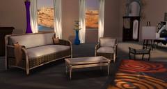 Wicker Sofa Set (Akaesha Revnik) Tags: second life secondlife akaesha react animated furniture animations couple bed bath sofa set