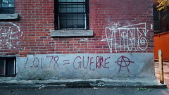 2012 in 2017 (Exile on Ontario St) Tags: loi78 printempsérable graffiti spray red paint wall mur mcgillghetto miltonparc montreal manifestations protest étudiantes étudiants student loi 78 bill montréal bill78 mcgill ghetto milton parc printemps érable quebec 2012 2012protests protests québec maple spring rights protesting guerre anarchy symbol ruelle alley allewyay ruelles printemps2012 fatigue tag tagging miltonpark