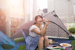 Happy Japanese woman in BBQ party (Apricot Cafe) Tags: img661027 asia asianandindianethnicities bbq harajuku healthylifestyle japan japaneseethnicity sigma35mmf14dghsmart tokyojapan beautifulwoman carefree charming cheerful city colorimage day drinking elegance enjoyment foodanddrink fulllength happiness horizontal lifestyles longhair oneperson onlyjapanese onlywomen onlyyoungwomen outdoors party people photography picnic sitting smiling street summer sunlight toothysmile women youngadult