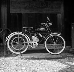 Whizzer (Kyle Michaels) Tags: yashicamat124g yashica yashicamat film vintage bw fujineopanacros fuji acros 100iso 100asa kodakhc110 dilutionh kodak yashinon75mmf35 yashinon 75mm smithvilleohio motorcycle whizzer epsonv600 124g