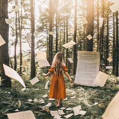 A Tale Within (Adam Bird Photography) Tags: flickr explore adambirdphotography adambird pages yellow forest alice wonderland conceptual surreal giant book fairytale woods light flying falling