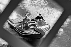 Boat of Bald Boaters (Mister Day) Tags: boats bald boaters river spotted lookdown bnw noir summer