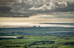 Wind and Nuclear (ScrewJ) Tags: lancashire england heysham morecambebay nuclearpower windpower windmills sea cloudy sunshine landscape farmland quernmore