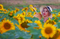 Where's Wally? (Jumpin'Jack) Tags: girl woman wearing straw hat holding wicker basket with flowers standing ina field hiding among sunflowers pinup makeup red lipstick
