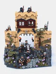 9 Kingdoms - Kurvenheim - After a long journey (noggy85) Tags: 9reiche lego moc 9kingdoms neunreiche ninekingdoms kurvenheim outpost ausenposten berge mountains tor gate wachturm watchtower ritter kekse cookies baum tree burg grau gray beige tan olivegreen grün braun brown roguebricks rpg roleplaygame