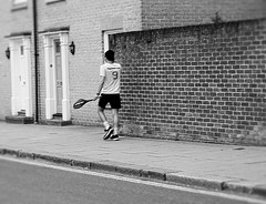 197/365 Just Another One (denise.ferley) Tags: tennis federer wimbledon 9 streetphotography street sonynex5 peoplewatching people playing pavement games game racket bw blackandwhitephotography life fun brickwall 3652017 365 england uk urban city citylife candid oneaday thisisengland thisisnorwich norwich