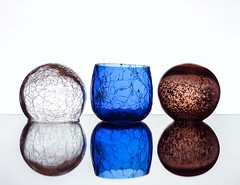 Crackled Glass (Karen_Chappell) Tags: three 3 glass blue white crackled crackle texture round ball orb sphere reflection reflections stilllife brown