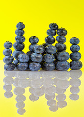 Blueberry Hill Incorporated (KellarW) Tags: blueberries contrastingcolors blue contrast brightcolors blueandyellow bright blueberry reflection reflected city cityscape skyline blueberryhill cityskyline yellow