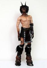 Soom Beast (Damasquerade) Tags: bjd soom beast jethro hybrid custom mod dye fantasy hooves goat anthro animal tattoo piercing horns claws tan tawny resin skin