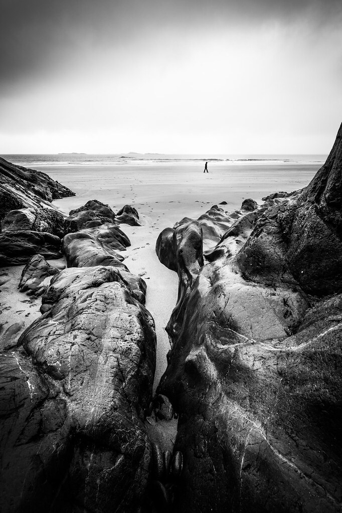 A walk on the beach galway ireland black and white photography giuseppe