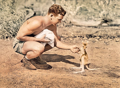 Australian carrying wounded mate with a smile - Gallipoli, 1915 (colourised) (colourhistory) Tags: australia usa america kangaroo cute animals ww2 war history colorised colourised colourisation anzac gallipoli ww1
