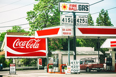 Fireball Gas (Thomas Hawk) Tags: america cocacola fireballgas grantspass oregon southernoregon usa unitedstates unitedstatesofamerica billboard gasstation fav10 fav25