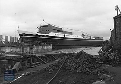 MV Cerdic Ferry - launch at Troon (Scottish Maritime Museum - SMM) Tags: 1981 atlas i 1987 sifnos 1990 express 1994 igoumenitsa 1998 orestes