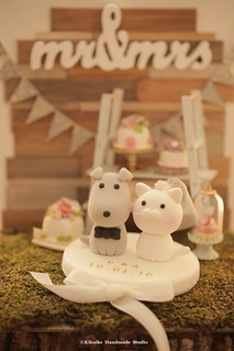 cat and dog Wedding Cake Topper, pets cake topper