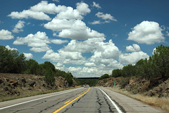Partly Cloudy With a Chance of Showers (VenturaMermaid) Tags: kaibabnationalforest hwy89 arizona road roadtrip travel scenic scenery view throughthewindshield pavement asphalt lines leadinglines sky weather cloud cloudy desert vanishingpoint landscape
