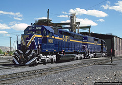 MPI Blue & Gold SD40s (jamesbelmont) Tags: train railroad railway locomotive emd mpi sd40 utahrailway martin motivepowerindustries utah coal shop lease