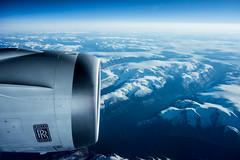 window seat to San Francisco (morten f) Tags: window seat plane fly flying mountain snow snø winter travel fjell engine motor rolls royce jet