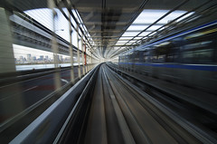 Light Speed (Pete Rocks) Tags: japan summer 2014 tokyo nikon d7000 rainbow bridge monorail rail railway blur motion tokina super wide 1116mm