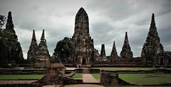 Wat Chaiwatthanaram (SM Tham) Tags: asia southeastasia thailand ayutthaya unescoworldheritagesite watchaiwatthanaram buddhisttemple ruins towers stupas bricks walls doorways pathway lawn grass trees people sky outdoors