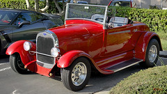 1928 - 1929 Ford Model A Roadster, full-fendered, hot rod, red (Pat Durkin OC) Tags: 1929 1928 ford modela roadster topless
