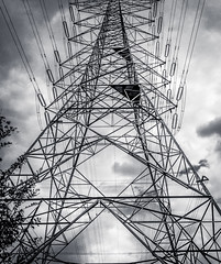 Simply electrifying! ⚠️ (Stratman² - (Joey and I are both ill )) Tags: canonphotography powershotg1x powergrid hightensionwires blackandwhite monochrome contrast sky clouds 33kv