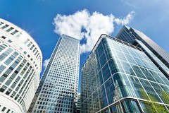 Real Estate (Gene Bernshtam) Tags: london canary wharf financial business district office modern city england architecture building corporate landmark money urban finance view bank urbanscene builtstructure buildingexterior glass wideanglelens outdoors longexposure reflection day cloud window tower financialdistrict contemporary citylife skyscraper directlybelow tall blue silver steel unitedkingdomofgreatbritainandnorthernireland
