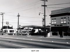 Menlo Park 1968: El Camino Real, East Side (menloparkplanning) Tags: mp1968downtownecr menlopark elcaminoreal sanmateocounty california historicalphoto historical scannedphoto downtown 1968 phillips66 gasstation