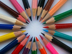 The Pointed Circle (IMHILL) Tags: colours colors spiral top down white yellow blue green art pencil pencils circle ring points point sharp macro black pink orange purle brown wood wooden drawing whitebackground