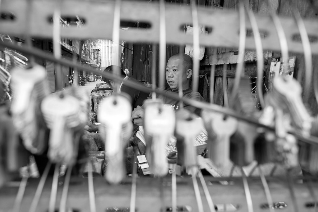 Locksmith waiting for clients on the streets of Bangkok.