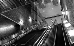 The hallucination of the castaway (akigabo) Tags: montreal architecture bw light shadows canon perspective t5i lines walls staircase 700d bright hallucination 7dwf underground akigabo