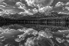 Dawn Drama (Philip Kuntz) Tags: blackandwhite bw monochrome herbertlake clouds reflections icefieldsparkway banff banffnationalpark alberta canada