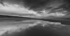 Reflections in wet sand / B&W