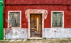 Red, White and Green (derek.dpr) Tags: venice venise venezia italy italia architecture architectural facade door doorway olympus omd em5 window windows shutters decay decaying red on1pics on1 burano